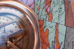 Mapping 3. Geological map and compass Royalty Free Stock Images