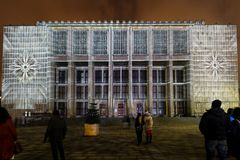 Mapping on the facade of the National Museum inspired by the painting of Stanislaw Wyspianski. Krakow, Stock Photo
