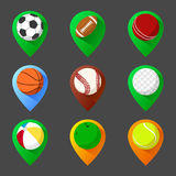 Mapping geo tag pin icon set with balls Royalty Free Stock Image