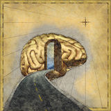 Mapping the Mind. Road map to the brain - 3d renders and digital painting Royalty Free Stock Images