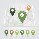 Mapping pins icon. St. Patrick's Day Royalty Free Stock Photography