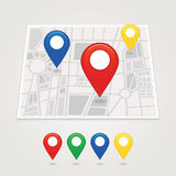 Mapping pins icon. EPS 10 vector file has transparency (shadow under the icons) mapping pins icon Royalty Free Stock Image