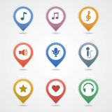 Mapping pins icon. EPS 10 vector file has transparency (shadow under the icons) mapping pins icon the theme music Royalty Free Stock Images