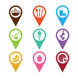 Mapping pins icon food and drink Stock Photography