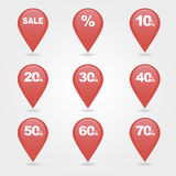Mapping pins icons SALE Royalty Free Stock Photography