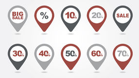 Mapping pins icons SALE Stock Photography