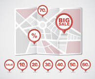 Mapping pins icons SALE Royalty Free Stock Images