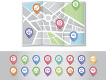Mapping pins icons travel Stock Image