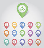 Mapping pins icons travel Royalty Free Stock Images