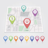 Mapping pins icons travel Royalty Free Stock Image