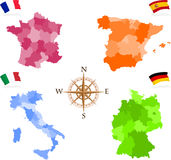 Maps. Of four european states - France, Spain, Italy, Germany Royalty Free Stock Photos