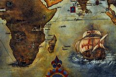 MAPS- Ancient Map of Africa and Asia stock illustration