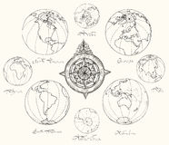 Maps atlas continents. Stock Photography