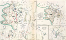 Maps of the battlefield  of Antietam, 1862. From Atlas to Accompany the Official Records of the Union & Confederate Armies, 1861 - 1865 Stock Images