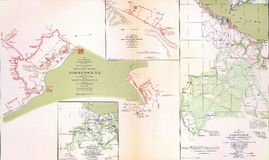 Maps of the battlefield and siege of Yorktown Royalty Free Stock Photos