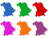 Maps of Bavaria with colored rhombs royalty free stock image