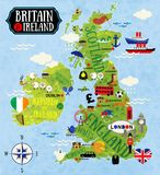 Maps of Britain and Ireland. Cartoon Maps of Britain and Ireland for child Stock Image