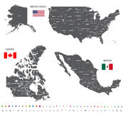 Maps of Canada, United States and Mexico with flags and location navigation icons. All layers detached and labeled royalty free stock photography