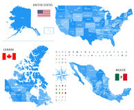 Maps of Canada, United States and Mexico with flags and location navigation icons. All layers detached and labeled Royalty Free Stock Photos