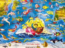 Maps with cartoon illustrations for children Royalty Free Stock Images