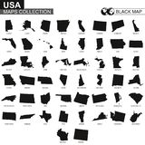 Maps collection of USA states, black contour maps of US state. Vector set vector illustration