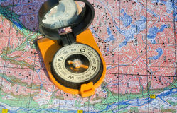 Maps and compass. Stock Image
