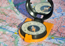 Maps and compass. Royalty Free Stock Photography
