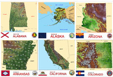Maps counties USA states Stock Photos