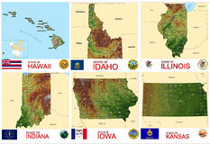 Maps counties USA states Royalty Free Stock Images