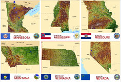 Maps counties USA states Stock Image