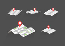 Maps with destination symbols vector set Stock Images