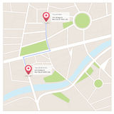 Maps and destinations. Street map with pin and sample locations and destinations vector illustration