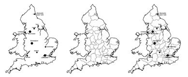 Maps of England with and without counties and major cities Stock Images