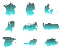 Maps of European countries Stock Images
