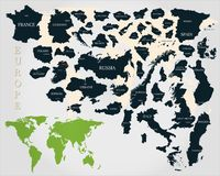 Maps of European countries with the names of capitals. On a light gray background Royalty Free Stock Images