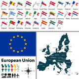 Maps of European Union. Vector of political map of European Union set with maps and flags on white background Stock Image