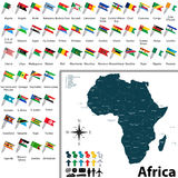 Maps with flags of Africa Royalty Free Stock Photos