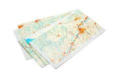 Maps. Folded maps isolated on white stock image