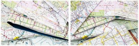 Maps folded travel pile Royalty Free Stock Images