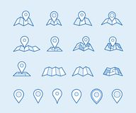 Maps and geo pins. Make your own custom location pin icon for app or contact web page. Map with pin symbol vector icons. Navigation and route concept Royalty Free Stock Images