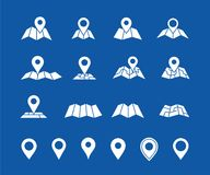 Maps and geo pins. Make your own custom location pin icon for app or contact web page. Map with pin symbol vector icons. Navigation and route concept Royalty Free Stock Photo