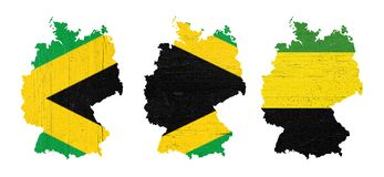 Maps of Germany with the colors of Jamaica black, green and yellow, illustrative of the so-called Jamaica coalition. Maps of Germany in textured wooden plates stock photos