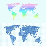 Maps globe Earth contour outline silhouette world mapping cartography texture vector illustration. Maps globe Earth contour outline silhouette world mapping Royalty Free Stock Images