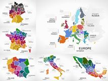 Maps infographic. Collection pack with Europe, Germany, France, Poland, Italy and Mexico puzzle illustrations Royalty Free Stock Photo