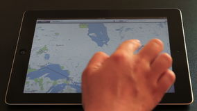 Maps on iPad Stock Image
