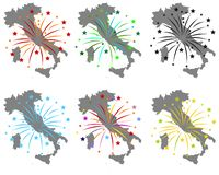 Maps of Italy with fireworks. Detailed and accurate illustration of maps of Italy with fireworks stock illustration