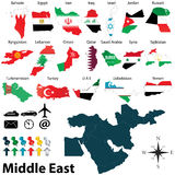 Maps of Middle East. Vector of political map of Middle East set with maps and flags on white background Royalty Free Stock Photos