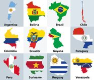 Maps mixed with flags of the independent countries of South America. Maps mixed with flags of independent countries of South America stock illustration