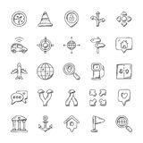 Maps And Navigation Icons Pack. The maps and navigation doodle set is designed creatively to help in finding places, persons, and pin locations Royalty Free Stock Images