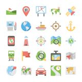 Maps And Navigation Flat Vector Icons Pack. Provide easy access to your location with this Maps and Navigation Flat Vector Icons Set. These icons are so easy to Stock Image